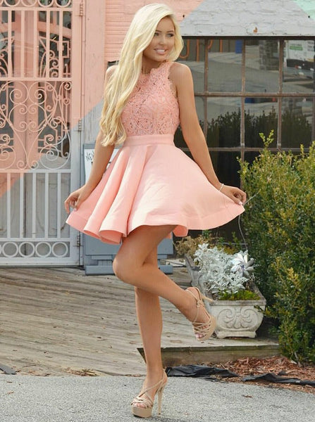 Pink Lace Sweetheart Pleats Short Homecoming Dresses