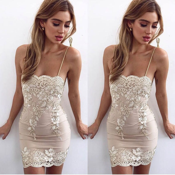 Sheath White Lace Straps Short Tight Homecoming Dresses