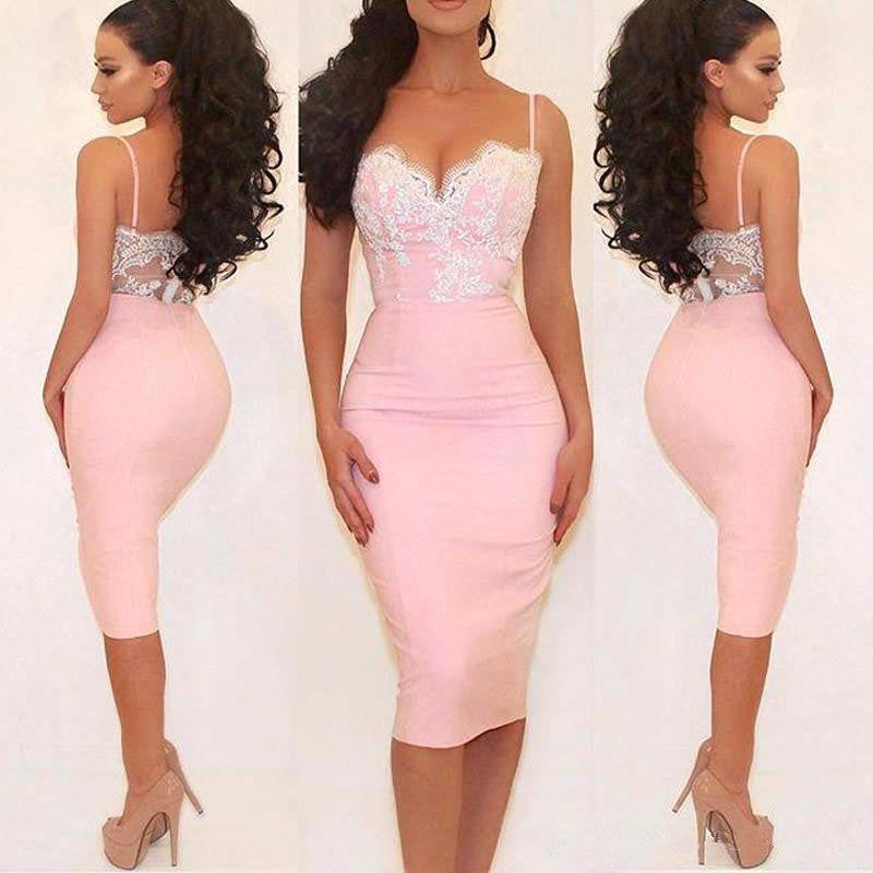 Bodycon Pink Lace Applique Straps Backless Knee Length Homecoming Dresses