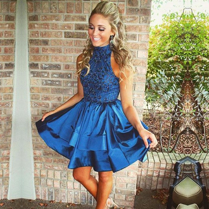 Blue Halter Sequin Stain Short Homecoming Dresses with Beading Ruffles