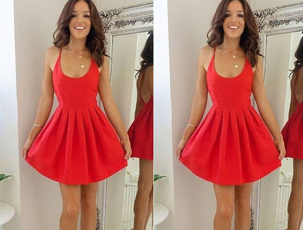 Red Round Neck Backless Straps Pleats Short Homecoming Dresses