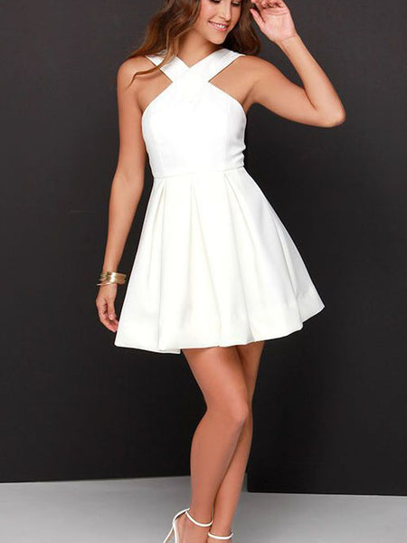White Straps Stain Pleats Short Homecoming Dresses