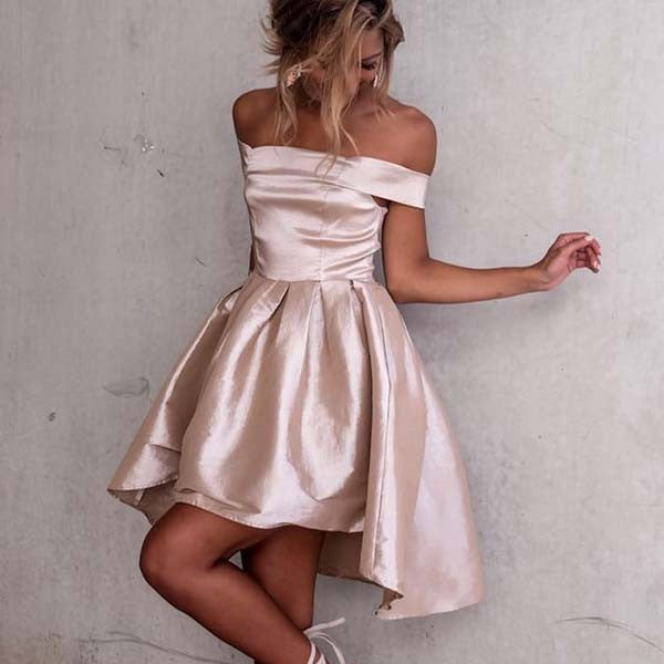 Pearl Pink Short Sleeve Off the Shoulder Satin High Low Homecoming Dresses