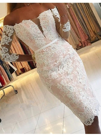 Pink Lace Long Sleeve Off Shoulder Knee Length Homecoming Dresses