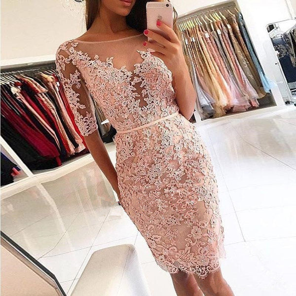 Pink Lace Applique Half Sleeve Knee Length Bodycon Homecoming Dresses
