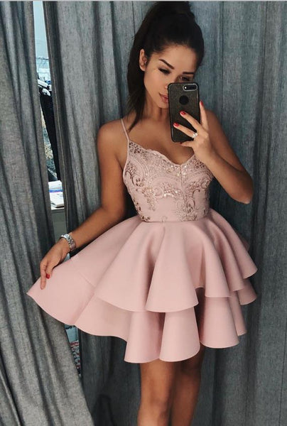 Pink Spaghetti Straps V-neck Stain Tiered Homecoming Dresses with  Sequin