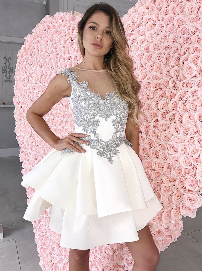 189f832f006702 ... Tiered White V-neck Applique Backless Homecoming Dresses Prom Dress ...