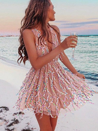 Pink Sequin Deep V-neck Sweetheart Short Homecoming Dresses