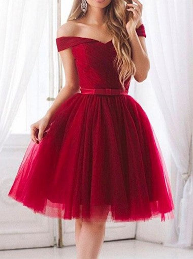 960fc487aca Red Off Shoulder Short Sleeve Tulle Homecoming Dresses With Bowknot ...