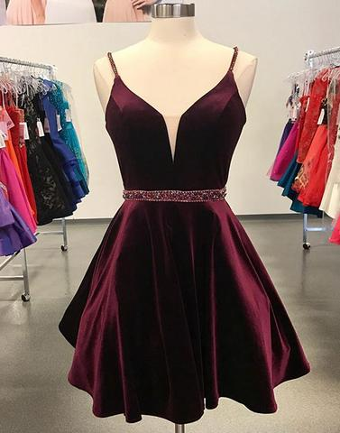 Burgundy Spaghetti Straps V-neck Beading Stain Short Homecoming Dresses