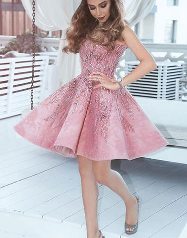 Pink V-neck Sequin pleated Sweetheart Homecoming Dresses
