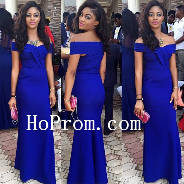 Off Shoulder Prom Dresses,Royal Blue Prom Dress,Evening Dress