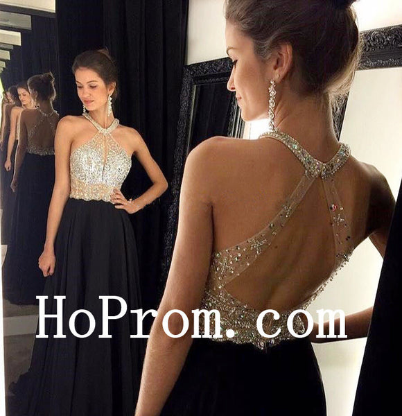 Halter Black Prom Dresses,A-Line Prom Dress,Evening Dress