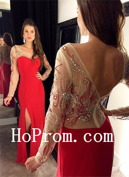 Red Prom Dresses,Long Sleeve Prom Dress,Evening Dress