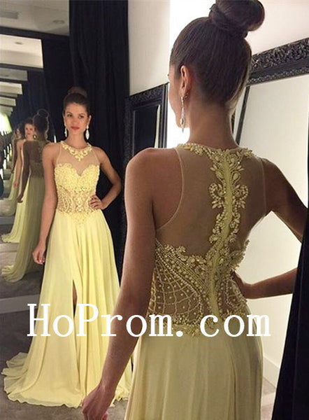 See Through Back Prom Dresses,Yellow Prom Dress,Evening Dress