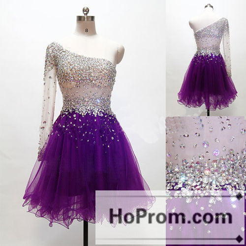 One Shoulder Short Beaded Purple Prom Dresses Homecoming Dresses