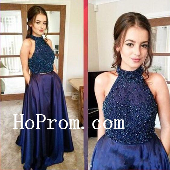 Two Piece Beads Prom Dresses,High Neck Prom Dress,Evening Dress