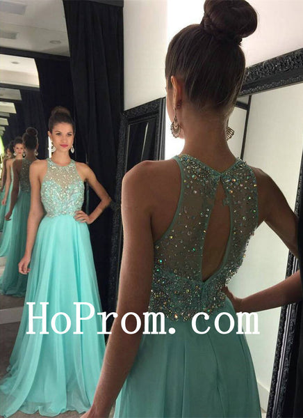 O-Neck Prom Dresses,Blue Prom Dress,Evening Dress