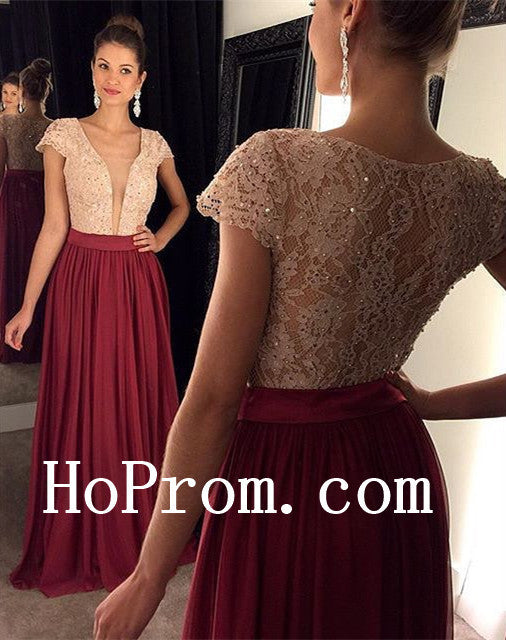 Lace Chiffon Prom Dresses,Burgundy Prom Dress,Evening Dress