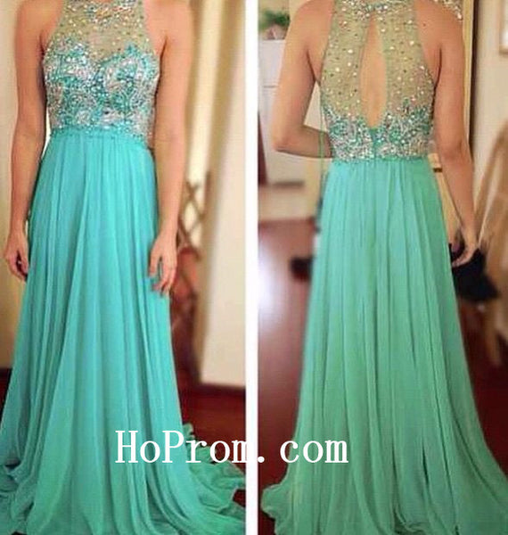 Blue Lace Prom Dresses,Beading Prom Dress,Evening Dress