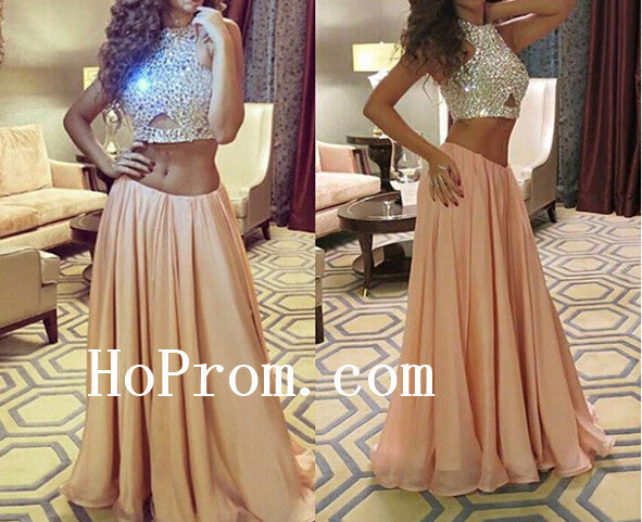 Beading Halter Prom Dresses,Two Piece Prom Dress,Evening Dress