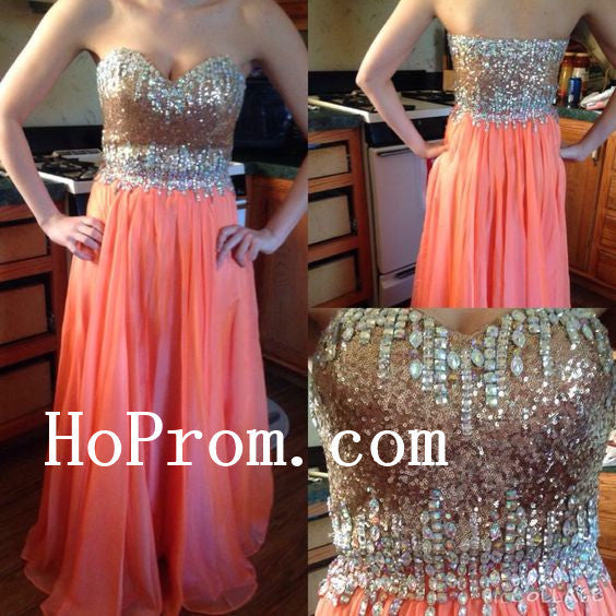 Strapless Sequin Prom Dresses,Long Prom Dress,Evening Dress