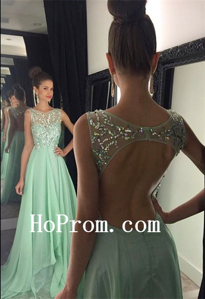 Green Chiffon Prom Dresses,Beading Prom Dress,Evening Dress