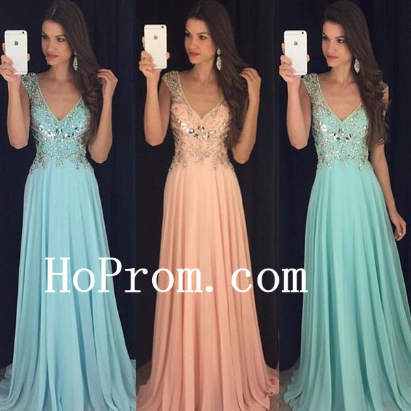 V-Neck Chiffon Prom Dresses, Prom Dress,Evening Dress