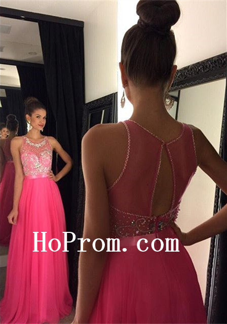 Hot Pink Prom Dresses,A-Line Prom Dress,Evening Dress