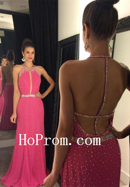 Hot Pink Prom Dresses,Backless A-Line Prom Dress,Evening Dress