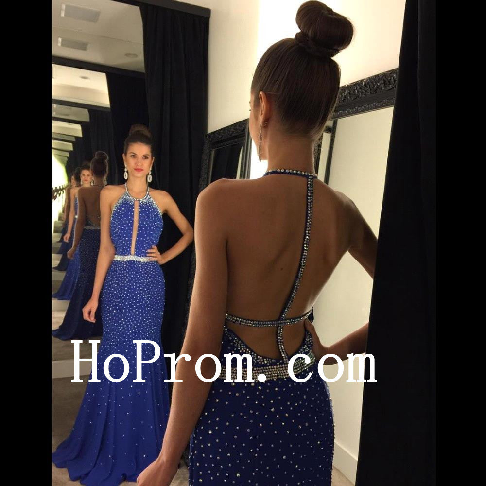 Blue Prom Dresses,Backless A-Line Prom Dress,Evening Dress