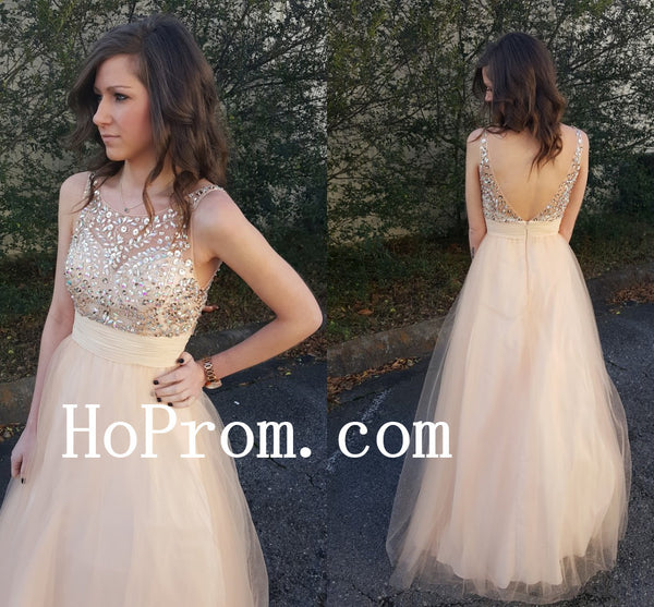 V-Backless Prom Dresses,Long Prom Dress,Chiffon Evening Dress