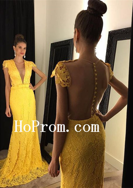 Floor Length Prom Dresses,Yellow Lace Prom Dress,Evening Dress