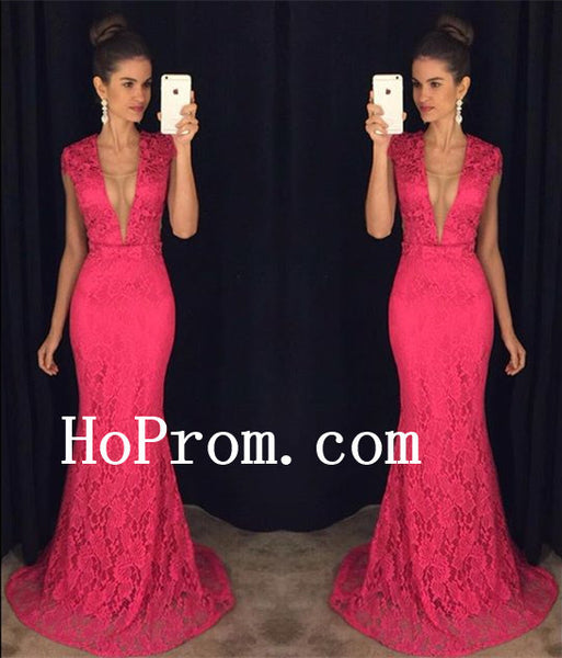 Floor Length Prom Dresses,Hot Pink Lace Prom Dress,Evening Dress