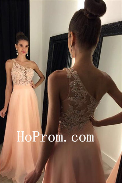 A-Line Pink Prom Dresses,One Shoulder Prom Dress,Evening Dress