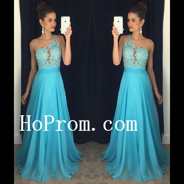 A-Line Blue Prom Dresses,One Shoulder Prom Dress,Evening Dress