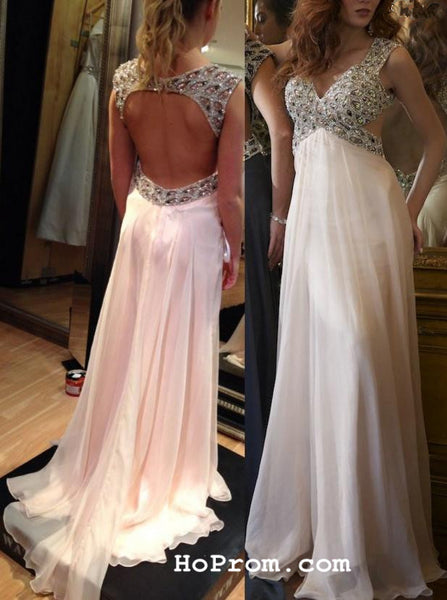 A Line Backless Prom Dress Beads Prom Dresses Chiffon  Backless Evening Dresses