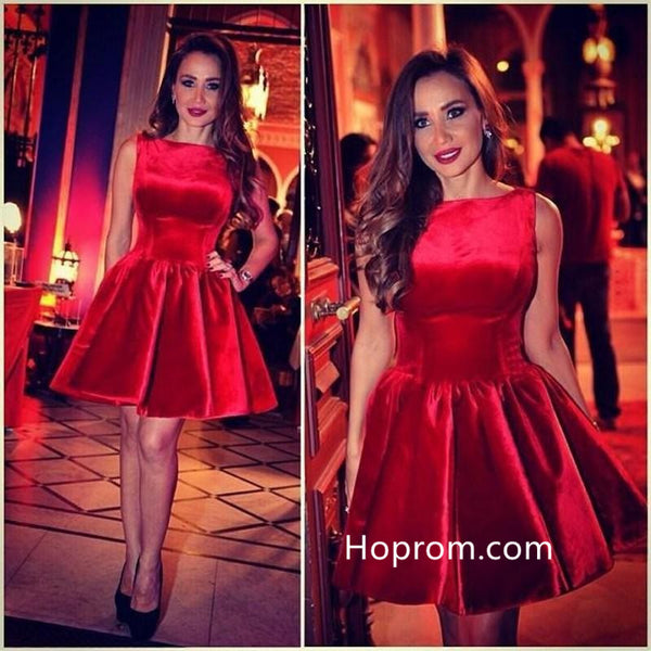 Red Velvet Short Homecoming Dress