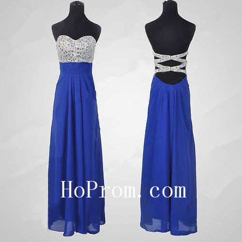 Beaded Strapless Prom Dresses,Blue Prom Dress,Long Evening Dress