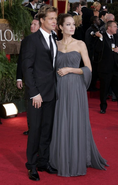 Grey Angelina Jolie Strapless Dress Chiffon Prom Celebrity Formal Red Carpet Dress Golden Globes