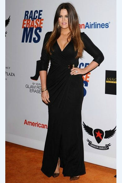 Black Khloe Kardashian V Neck Prom Celebrity Inspired Dress Replica 19th Annual Race to Erase MS Gala