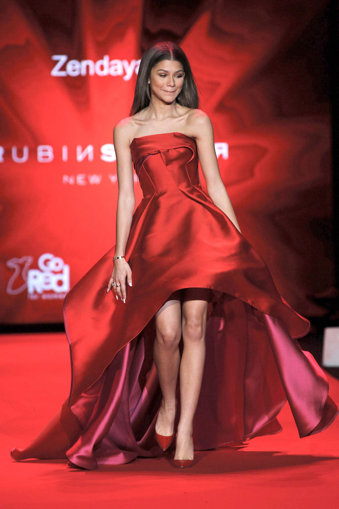 Red Zendaya Coleman High Low Satin Strapless Prom Red Carpet Dress Go Red For Women Red Dress Collection