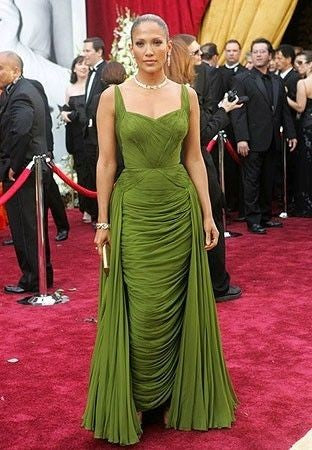 Green Jennifer Lopez (J.Lo) Open Back Dress Ruched Prom Celebrity Red Carpet Dress Oscars