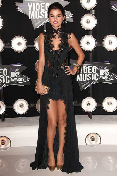 Black Selena Gomez High Neck Dress Lace Prom Evening Celebrity Formal Dress Mtv VMA