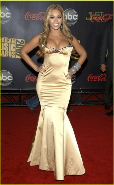 Golden Beyonce Knowles Sheath Halter Satin Dress Mermaid Gown Prom Red Carpet Formal Dress American Music Awards
