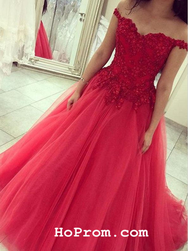 A Line Lace Prom Dress Red Lace Evening Dresses Formal Dress – Hoprom