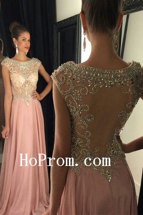 Pink Prom Dresses,See Through Prom Dress,Evening Dress