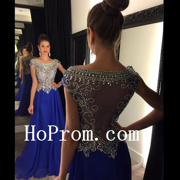 Pink Blue Prom Dresses,See Through Prom Dress,Evening Dress