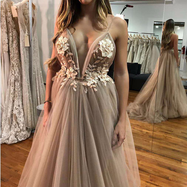 A Line Lace Flowers Tulle Backless Prom Dresses Spaghetti Straps V Neckline 3D Flowers Evening Dresses