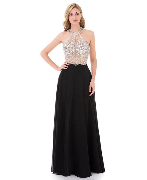 A Line Black Prom Dresses Long Halter Beaded Backless Sleeveless Evening Dress Online